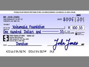 fictional Canadian cheque
